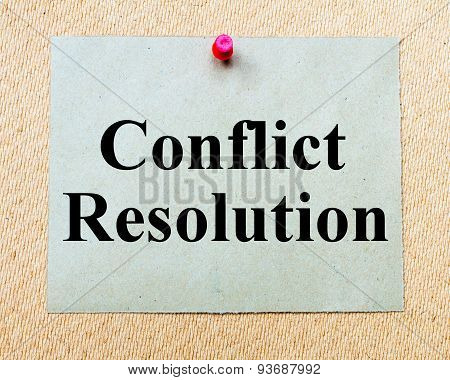 Conflict Resolution Written On Paper Note