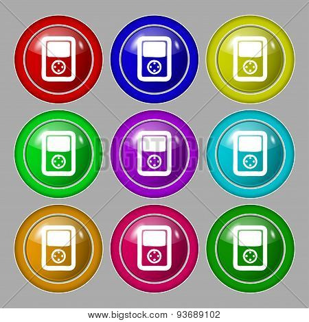 Tetris, Video Game Console Icon Sign. Symbol On Nine Round Colourful Buttons. Vector
