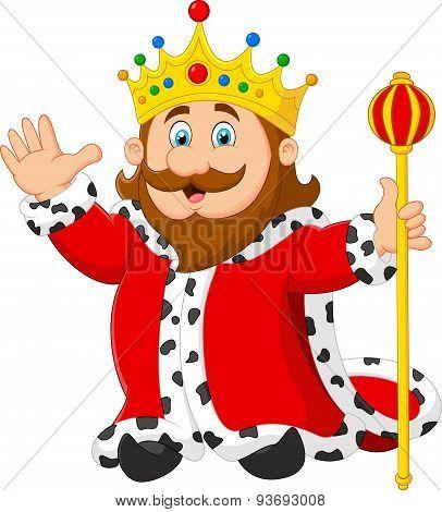 Cartoon king holding a golden scepter
