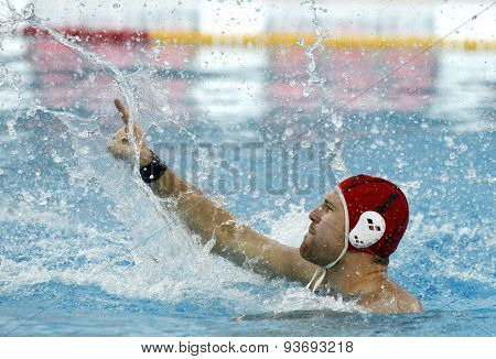 BARCELONA - MAY, 29: Viktor Nagy of Szolnoki VSK during a LEN Champions League Final Six match against Atletic Barceloneta at the Picornell Swimming pool on May 29 2015 in Barcelona Spain