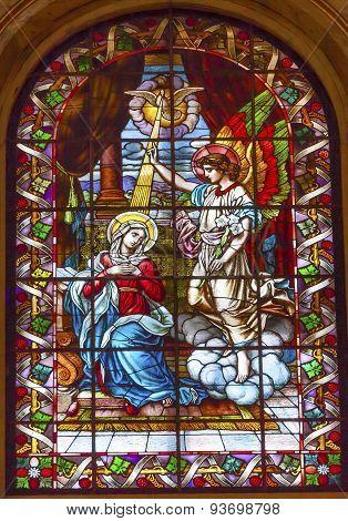 Annunciation Mary Angel Gabriel Stained Glass San Francisco El Grande Royal Basilica Madrid Spain