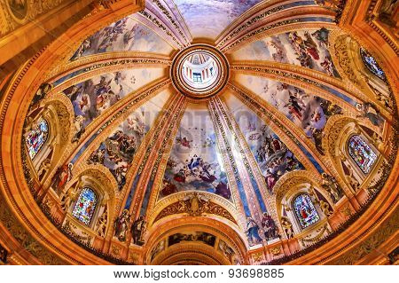 Dome Stained Glass San Francisco El Grande Royal Basilica Madrid Spain