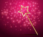 Golden magic wand on pink sparkle background, illustration. poster