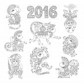 set of line art authentic decorative monkey - chinese zodiac symbol 2016 year, black and white vector illustration poster