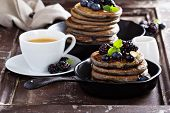 Blueberry pancakes with buckwheat flour for breakfast poster