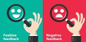 Positive and Negative feedback concept background. Vector illustration. Minimal and flat design poster