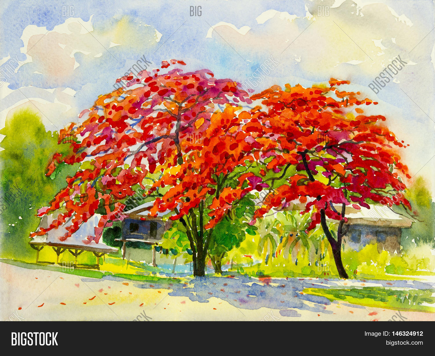 Watercolor Landscape Image & Photo (Free Trial) | Bigstock