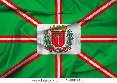 Waving Flag of Curitiba Parana Brazil, with beautiful satin background. 3D illustration