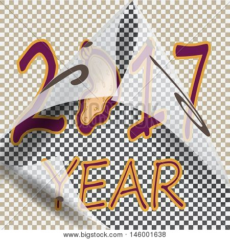 Peel off the sticker with the old year. Days of the New Year 2017. Vector illustration