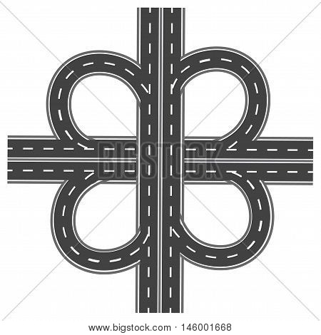 Road interchange. Highway with white markings. Vector illustration