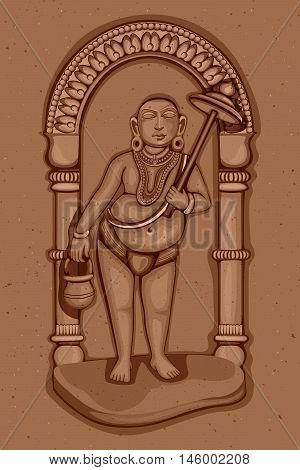Vector design of Vintage statue of Indian Lord Vamana sculpture one of avatar from the Dashavatara of Vishnu engraved on stone poster