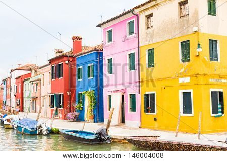 View of the city of Burano, Venice, Italy