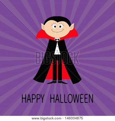 Count Dracula wearing black and red cape. Cute cartoon vampire character with fangs. Happy Halloween. Flat design. Violet starburst sunburst background. Vector illustration