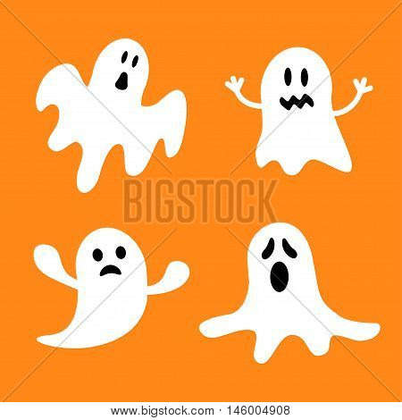 Funny flying ghost set.Different emotions face. Happy Halloween. Greeting card. Cute cartoon character. Scary spirit. Baby collection. Orange background. Flat design. Vector illustration