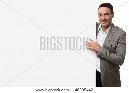 Happy Casual Business Man With Blank Advertising Board