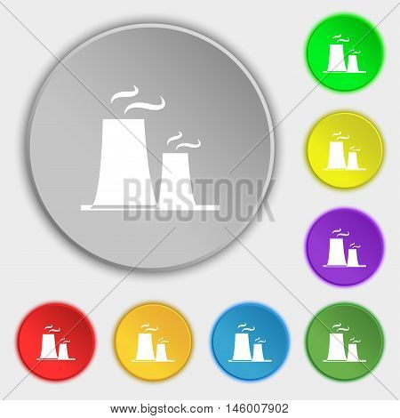 Atomic Power Station Icon Sign. Symbol On Eight Flat Buttons. Vector