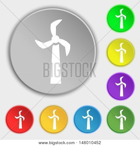 Windmill Icon Sign. Symbol On Eight Flat Buttons. Vector