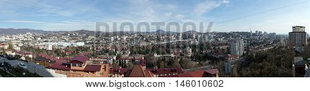 Sochi, Russia - February 11, 2016: Panorama of the Central District of Sochi