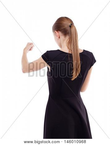 skinny woman funny fights waving his arms and legs. Blonde in a short black dress put his fists in front of him.