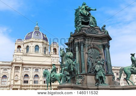 Vienna. Austria. Natural History Museum and Maria Theresia monument