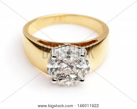 Close up of a Gold and Diamond ring having many diamonds and gem. Isolated on white background.