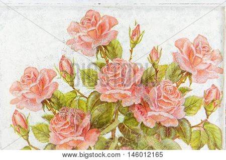 Photo of a handmade decoupage decorated flower pattern