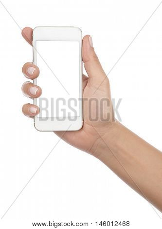 Female hand holding mobile smart phone with blank screen isolated on white background.