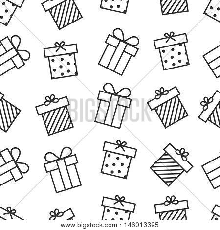 Present seamless pattern with outline gift boxes icons. Background with present box in linear style. Vector illustration