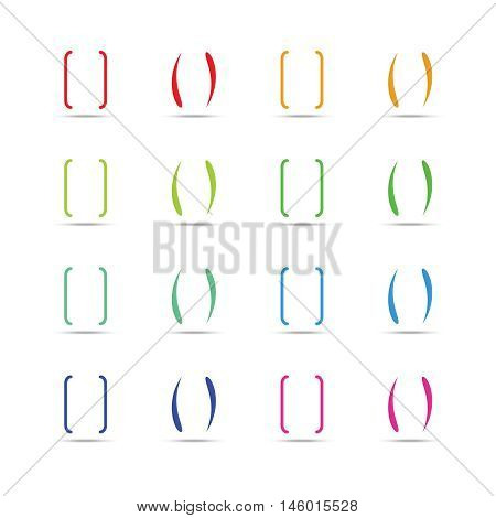 Color curly brackets, braces vector set. Multicolored parenthesis for text illustration