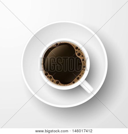 Realistic top view black coffee cup and saucer isolated on white background. Vector illustration