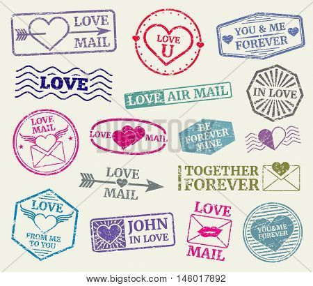 Romantic postage stamp for valentines day card, love letters. Set of rubber seal for love mail. Vector illustration