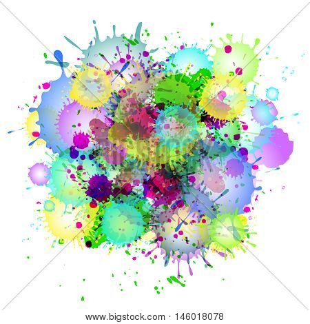 Multicolored watercolor paint splatters vector abstract background. Colorful abstract stain illustration