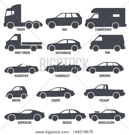 Car automobile types black vector icons isolated on white background. Hatchback and roadster, cabriolet and minivan illustration