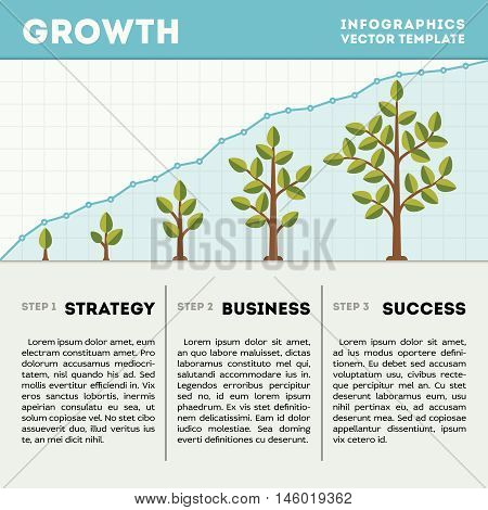 Green tree and plant timeline diagram infographics vector template. Strategy business success illustration