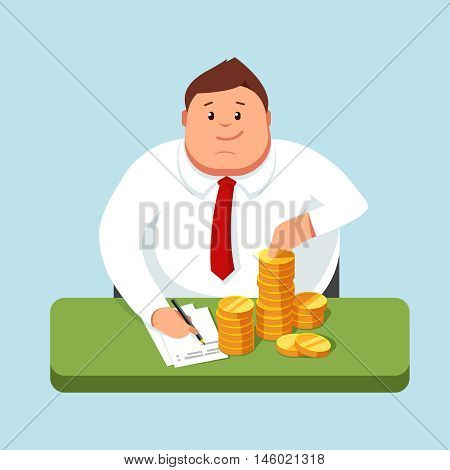Fat businessman sitting at a desk and counts profits. Accountant maintains its accounting records. Making money. Vector illustration in style flat is on a blue background