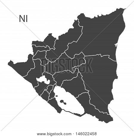 Nicaragua grey map with regions isolated vector high res