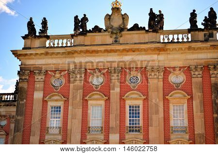windows and facade of new palace at castle sanssouci potsdam germany