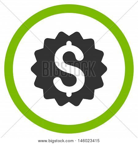 Financial Reward Seal vector bicolor rounded icon. Image style is a flat icon symbol inside a circle, eco green and gray colors, white background.