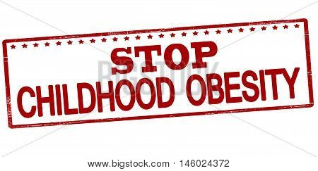 Rubber stamp with text stop childhood obesity inside vector illustration