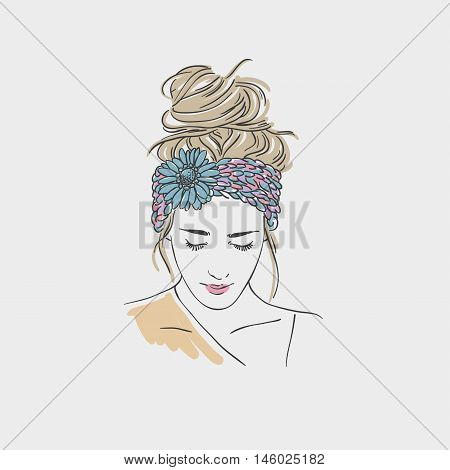 Beautiful Young Women In  Turban With Flower. Vector Hand Drawn Illustration.