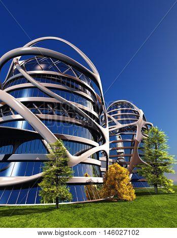 Modern building on the grass. ,3d render