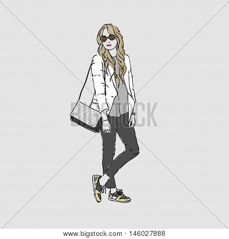 Beautiful Young Women In A Fashion White Jacket And Glasses With Bag. Vector Hand Drawn Illustration