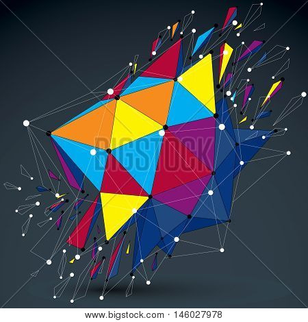 3D Vector Low Poly Object With Connected Lines And Dots, Colorful Digital Geometric Wireframe Shape