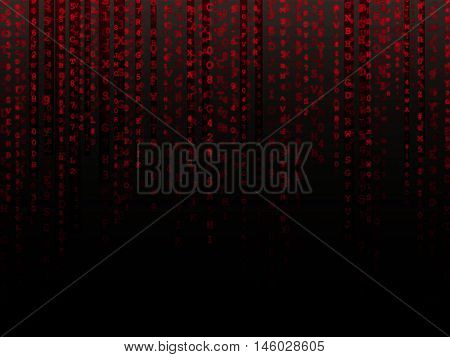 Fading red letters and numbers alphanumeric data background