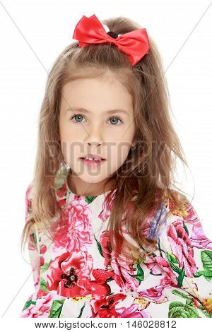 Gentle little girl with a long ponytail down to his shoulders, and a red bow on her head, in a beautiful summer dress. The girl looks into the camera with wide , surprised eyes. Close-up