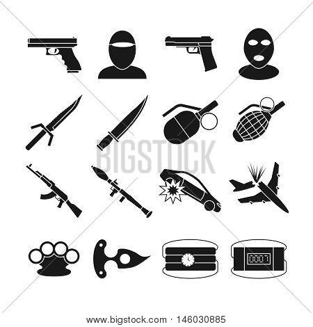 Terrorism vector icons. Terrorism bomb explosion, violence terrorism, weapon attack terrorism illustration