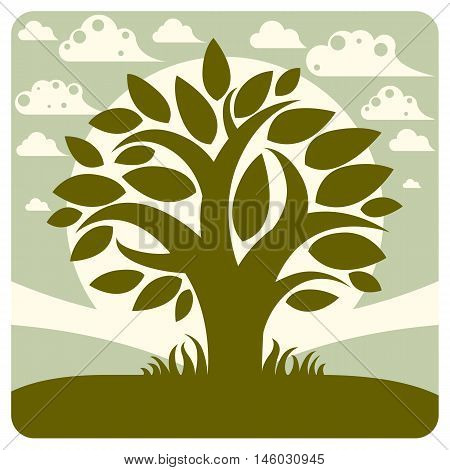 Art vector graphic illustration of stylized branchy tree and spring peaceful landscape with clouds countryside view.