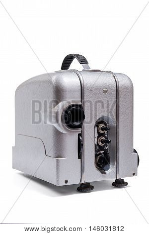 Vintage Motion Picture Film Projector Isolated On A White Background. With Clipping Path.