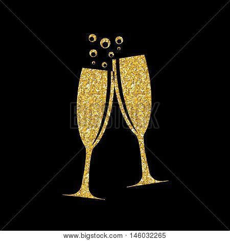 Two Glasses of Champagne Silhouette Vector Illustration EPS10