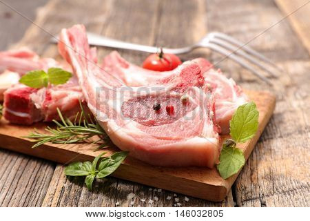 raw lamb chop on board